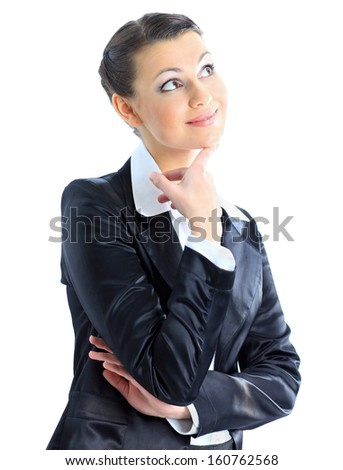 Nice business woman reflected gad new ideas. Isolated on a white background. - stock photo