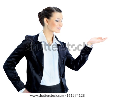 Nice business woman with his empty hand. Isolated on a white background. - stock photo