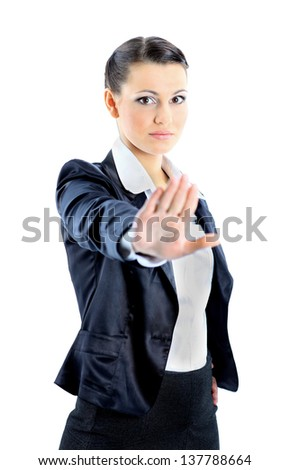 Nice business woman with outstretched palm. Isolated on a white background. - stock photo