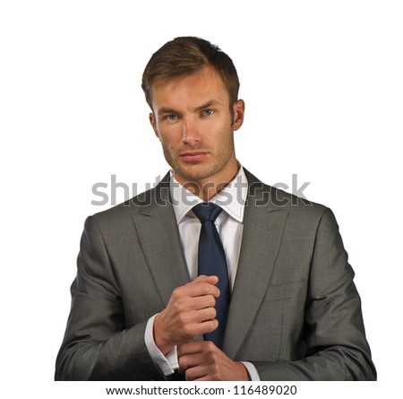 nice businessman prepares for a meeting - stock photo