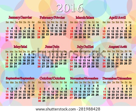 nice calendar for 2016 in English and French on colored background - stock photo