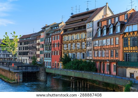 Nice canal with houses in Strasbourg, France. - stock photo