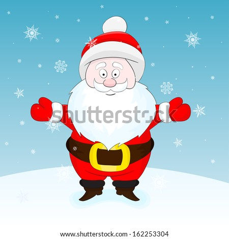 Nice cartoon vector Santa (its a raster version of vector illustration) - stock photo