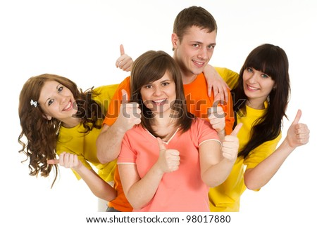 Nice Caucasian brilliant campaign of four people fool around on a white background