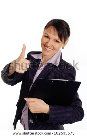 Nice Caucasian business woman shows cool on a white background