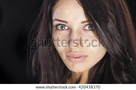 Nice caucasian girl with freckles - stock photo
