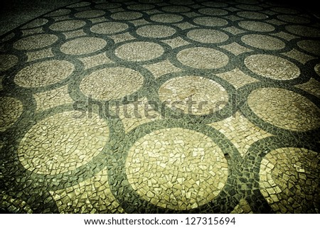 Nice closeup of traditional artistic pavement - Porto, Portugal. - stock photo