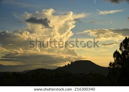 Nice cloud formation, taken at sunset in Arizona, monsoon season - stock photo