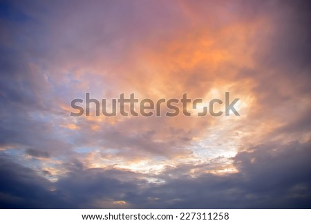Nice color cloudy sky in sunset time - stock photo