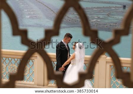Nice couple in Dubai - stock photo