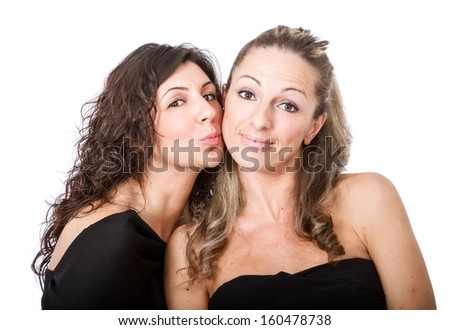 nice couple of women kiss