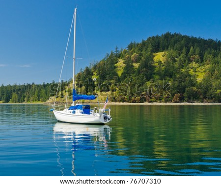 Nice cruise yacht in the Pacific Ocean over green shoreline and blue sky. - stock photo