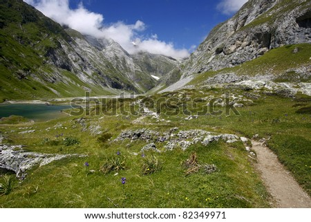 Nice day in pyrenees in France - stock photo