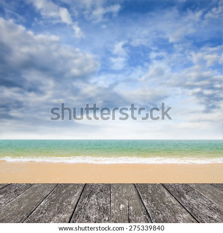 Nice deck at beach with sea and bluesky background - stock photo