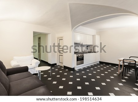 Nice domestic kitchen and living area, marble floor