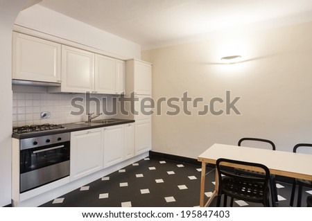 Nice domestic kitchen, marble floor