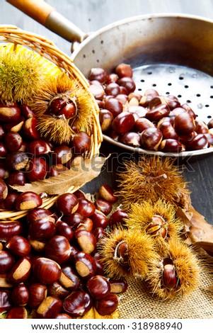 nice edible chestnuts - stock photo