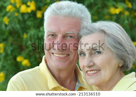 Nice elderly couple on palm leaves background