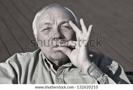 Nice elderly man asks for keeping secret
