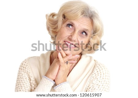 nice elderly woman on a white background