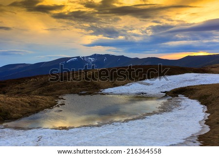 Nice evening scene in Carpathian mountains
