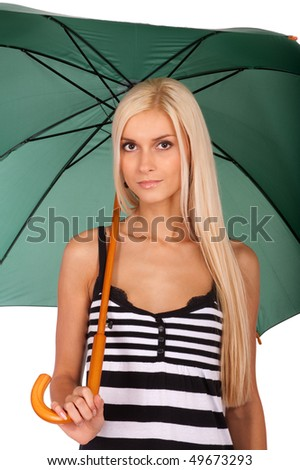 Nice fair-haired woman with green umbrella, it is isolated on white background.
