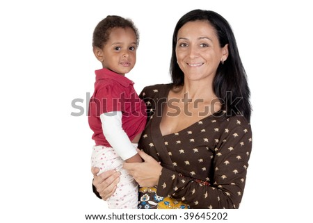 Nice family. Caucasian mother and african daughter isolated on a white background - stock photo