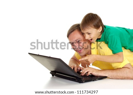 Nice family in bright T-shirts on a white background