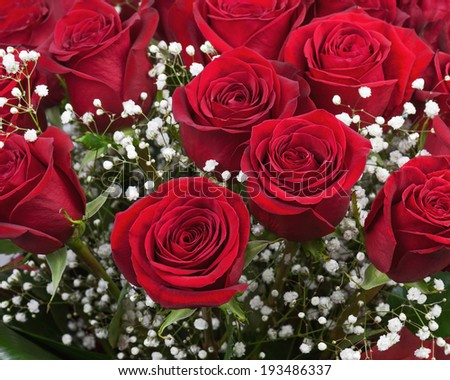 Nice flower bouquet from red roses. Closeup.