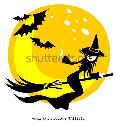 nice flying witch on a moon background halloween illustration