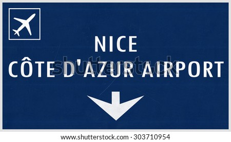 Nice France Airport Highway Sign 2D Illustration - stock photo