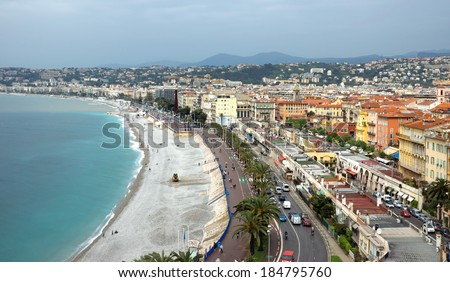 NICE, FRANCE - APRIL 29: Architecture along Promenade des Anglais on April 29, 2013 in Nice, France. It is a symbol of the Cote d'Azur and was built in 1830 at the expense of the British colony.