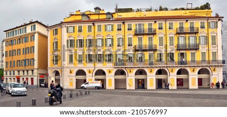 NICE, FRANCE - APRIL 29: Architecture of Place Garibaldi in Vieille Ville on April 29, 2013 in Nice, France.