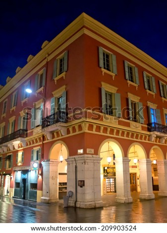 NICE, FRANCE - APRIL 28: Architecture of Place Massena at night on April 28, 2013 in Nice, France. The square was reconstructed in 1979.