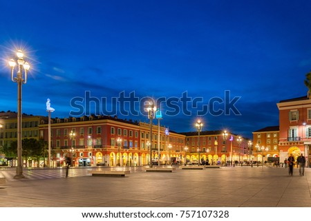 NICE, FRANCE- APRIL 14:Panoramic view of Place Massena (night shot) on April 14, 2016 in Nice, France. Nice is a city located on the French Riviera (Cote d'Azur)