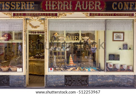 NICE, France - August, 2014: View of a historic pastry shop from outside, in the city center.