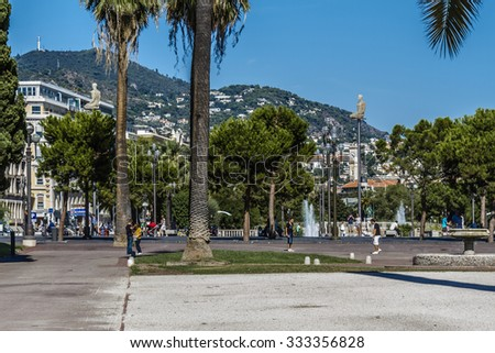 NICE, FRANCE - AUGUST 28, 2012: View of the Nice Old city. Nice is the fifth most populous city in France, second-largest French city on Mediterranean coast, one of the most visited.
