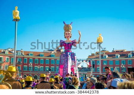 Nice, France - February 21 2016: Carnival of Nice in French Riviera - Carnaval de Nice - Roi de Media (King of Media)