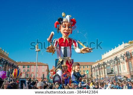 Nice, France - February 21 2016: Carnival of Nice in French Riviera - Carnaval de Nice - Roi de Media (King of Media) - stock photo