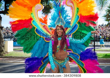 Nice, France - February 20, 2016: Participants in the carnival parade Battle of Flowers in Nice, Carnaval de Nice, Roi de Media