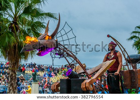 Nice, France - February 27, 2016: Participants in the carnival parade in Nice. Carnaval de Nice.