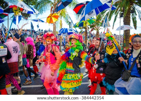 Nice, France - February 20, 2016: Participants in the carnival parade in Nice. Carnaval de Nice - Roi de Media (King of Media)