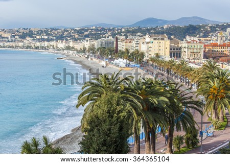 NICE, FRANCE - JANUARY 7, 2016. A view of Promenade des Anglais and the seashore from a high point. Winter day.
