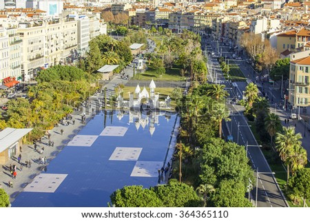 NICE, FRANCE,- JANUARY 7, 2016. A view of Promenade du Paillon from a high point. Winter day.