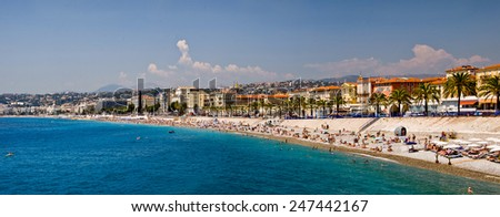 NICE, FRANCE - JULY 25: Panorama of the beach and the English promenade of Nice, one of the French most visited cities, on July 25, 2012 in Nice, France