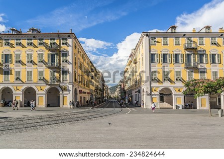 NICE, FRANCE - JULY 7, 2014: View of Place Garibaldi. It is named after Giuseppe Garibaldi, hero of Italian unification (born in Nice). Place Garibaldi is monumental example of Baroque architecture.