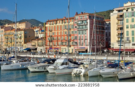 NICE, FRANCE - JUNE 5, 2014: Architecture of Port de Nice in French Riviera. Port de Nice was started in 1745.  - stock photo