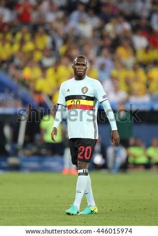 NICE, FRANCE - JUNE 22, 2016: Christian Benteke of Belgium walks on the pitch during UEFA EURO 2016 game against Sweden at Allianz Riviera Stade de Nice, City of Nice, France. Belgium won 1-0 - stock photo