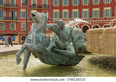"NICE, FRANCE - JUNE 19, 2013: Photo of detail of the fountain ""The Sun"""