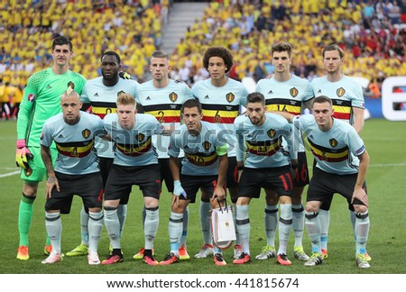 NICE, FRANCE - JUNE 22, 2016: Players of Belgium national football team pose for a group photo before UEFA EURO 2016 game against Sweden at Allianz Riviera Stade de Nice, Nice, France - stock photo